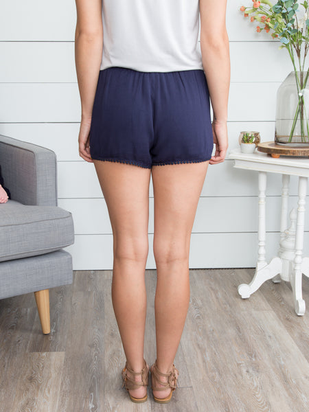 Be Blissful Lace Trim Short - Navy