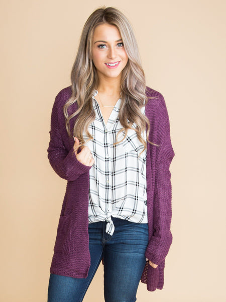 On To The Next Cardigan - Plum