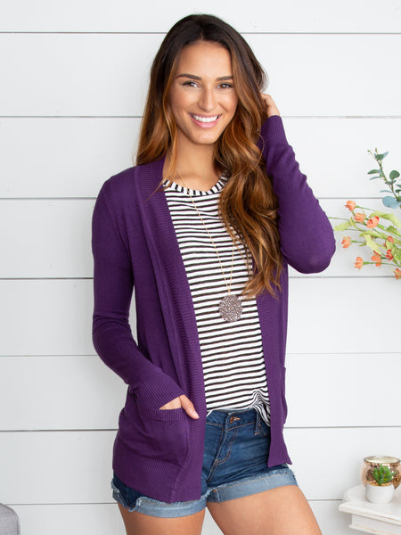 Picking Favorites Cardigan - Plum