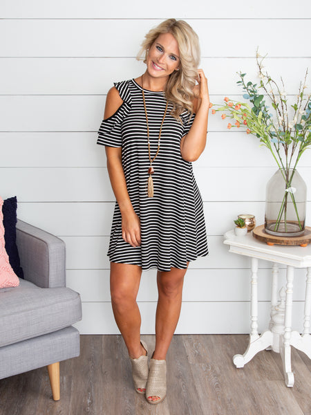 I Need Your Love Open-Shoulder Stripe Dress - Black