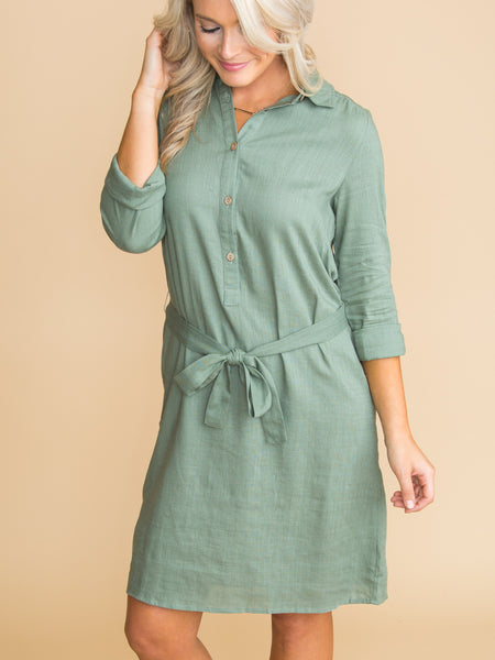 Like I Was Dreaming Button Dress - Lt Olive