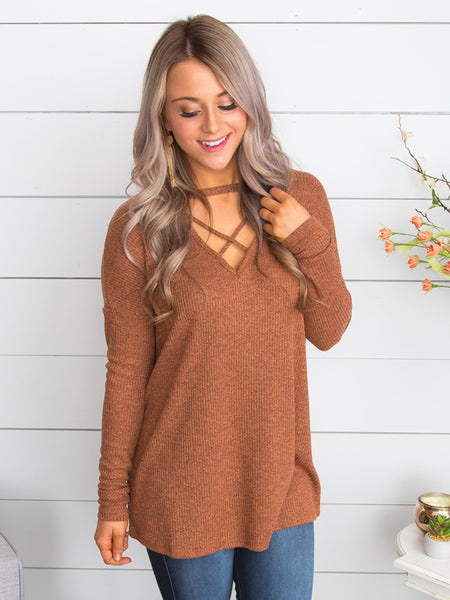 I Can't Let Go Criss Cross Top - Toffee