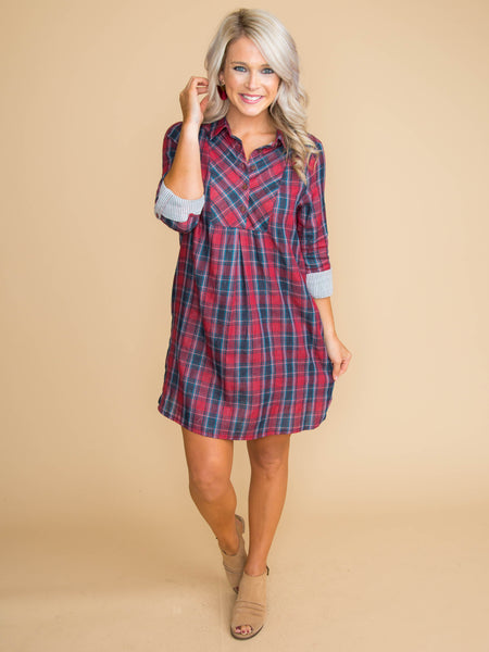 The Best Thing We Could Do Plaid Dress - Red