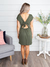 Always With You Open Back Dress - Olive