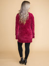 Take A Moment Oversized Chenille Sweater - Burgundy