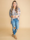 If Only With You Oversized Plaid Top - Almond