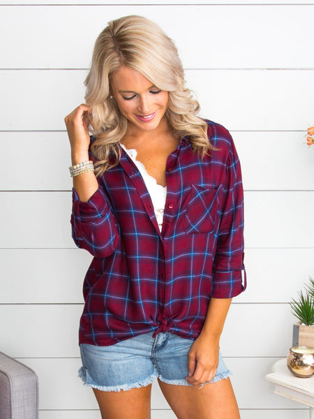 You Belong With Me Plaid Button Down - Wine