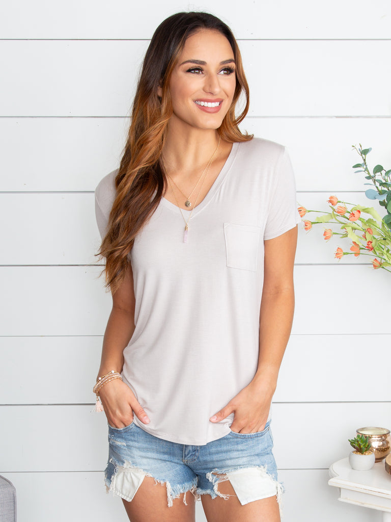 My Classic V-Neck Tee - Lt Grey