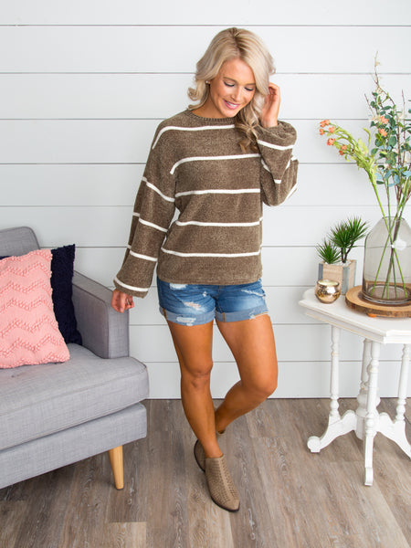 Being With You Stripe Sweater - Olive