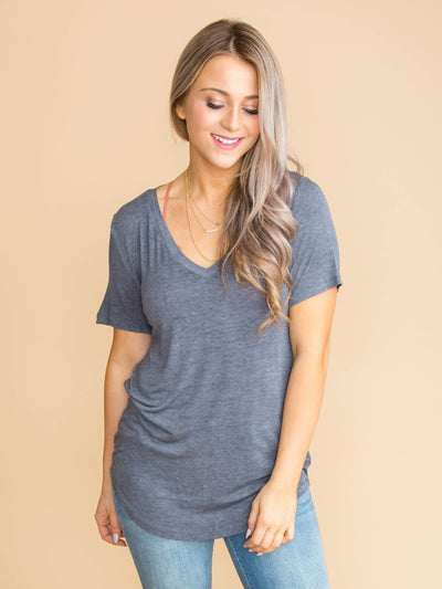 Bring On The Comfort V-Neck - Charcoal