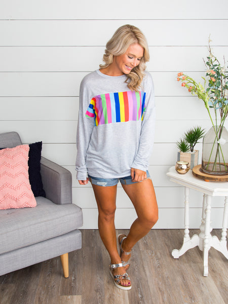 Lucky You Color-Block Pullover - Lt Grey