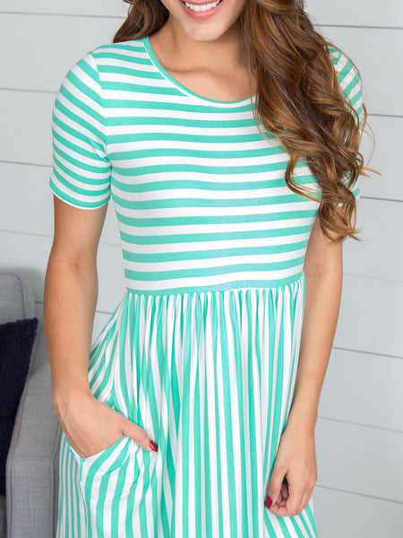 Be Mine Stripe Dress - Mint