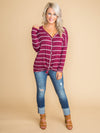 Something That Reminds You Stripe Knot Top - Burgundy