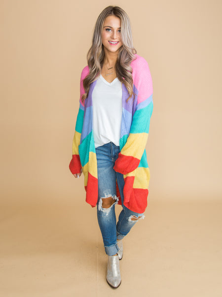 At My Best Color-Block Cardigan - Pink
