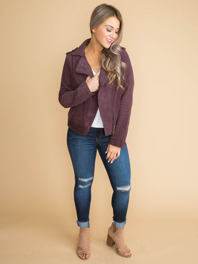 Out For The Day Moto Jacket - Plum