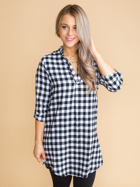 Park City Gingham Dress - Black