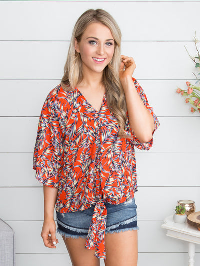 Hopeful Hearts Floral Knot Top - Poppy Red