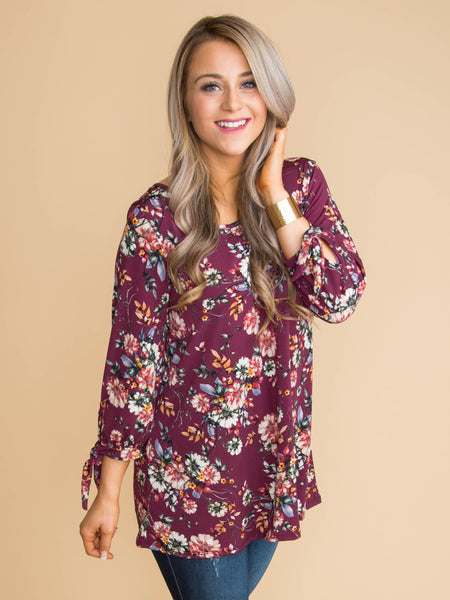 We Found Our Way Floral Cutout Top - Burgundy