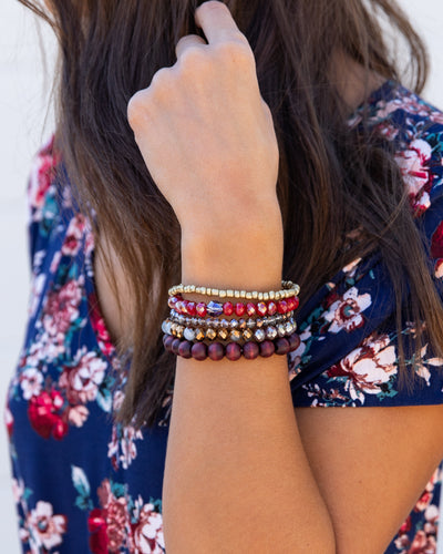 5 Piece Stackable Bracelet - Red