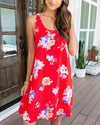 A Royal Affair Floral Dress - Red