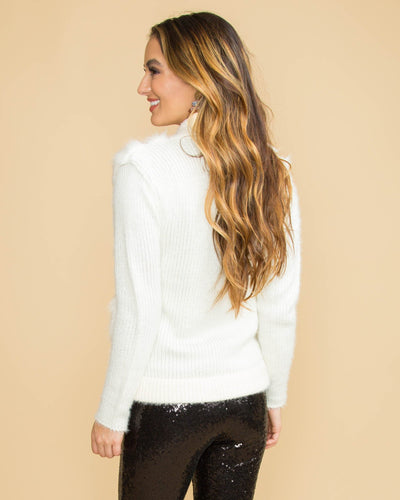 A Chic Holiday Faux Fur Sweater - Winter White