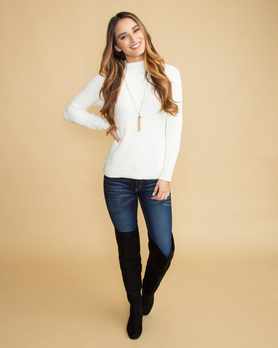 A Chic Moment Mock Neck Sweater - Off White