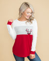 A Cozy Christmas Color-Block Top - Off White