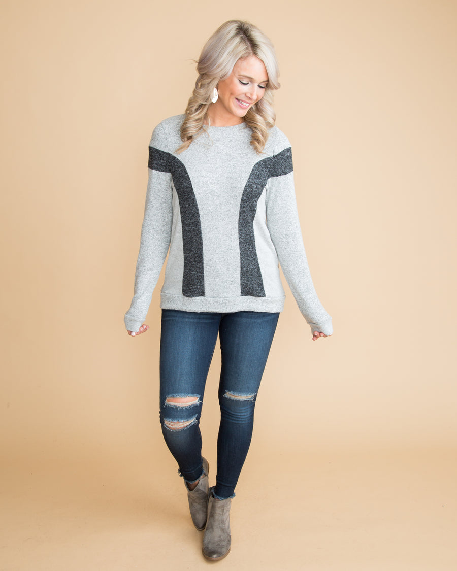 A Cozy Retreat Color-Block Top - Heather Grey