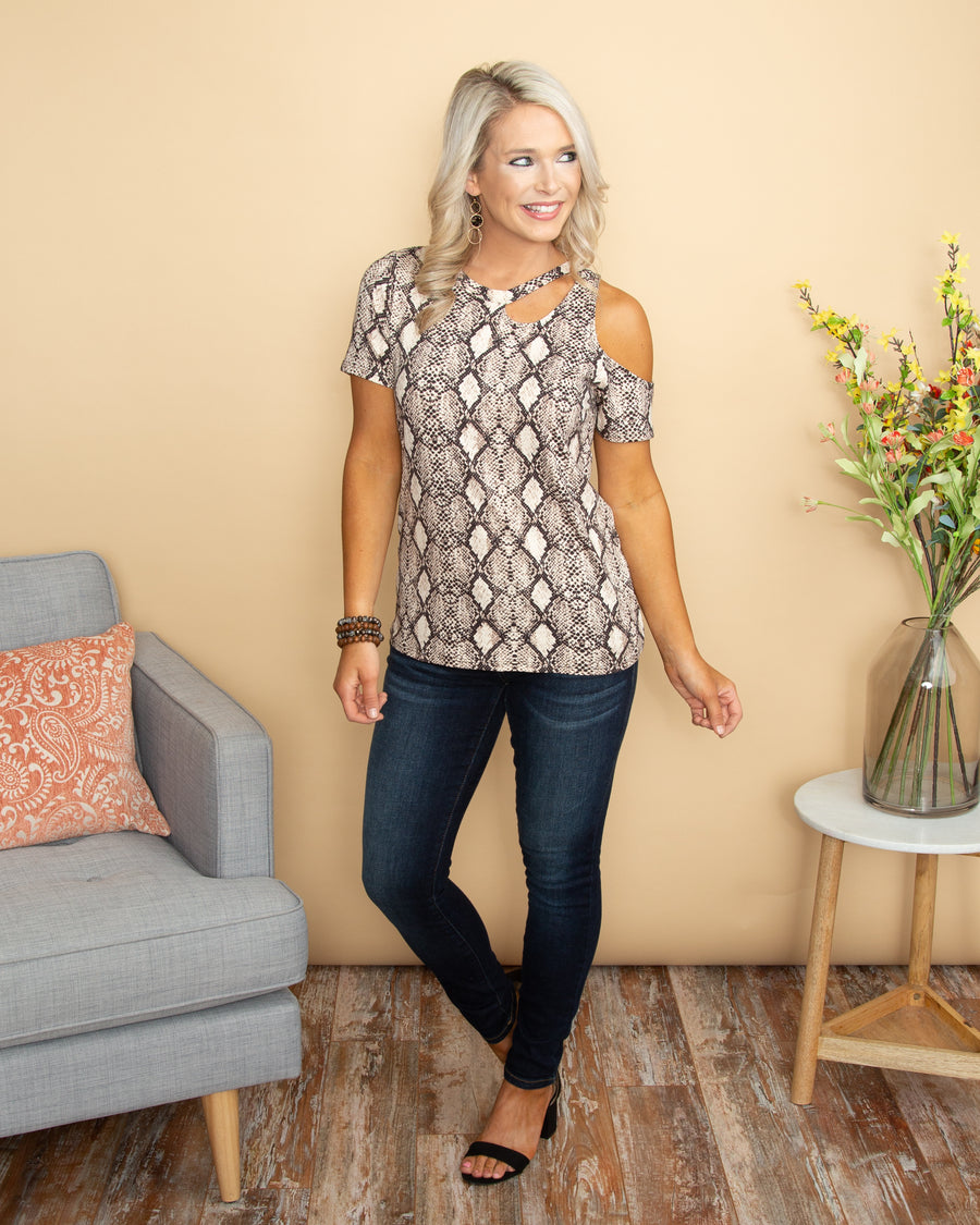 A Moment Like This Snakeskin Cutout Top - Ivory Multi