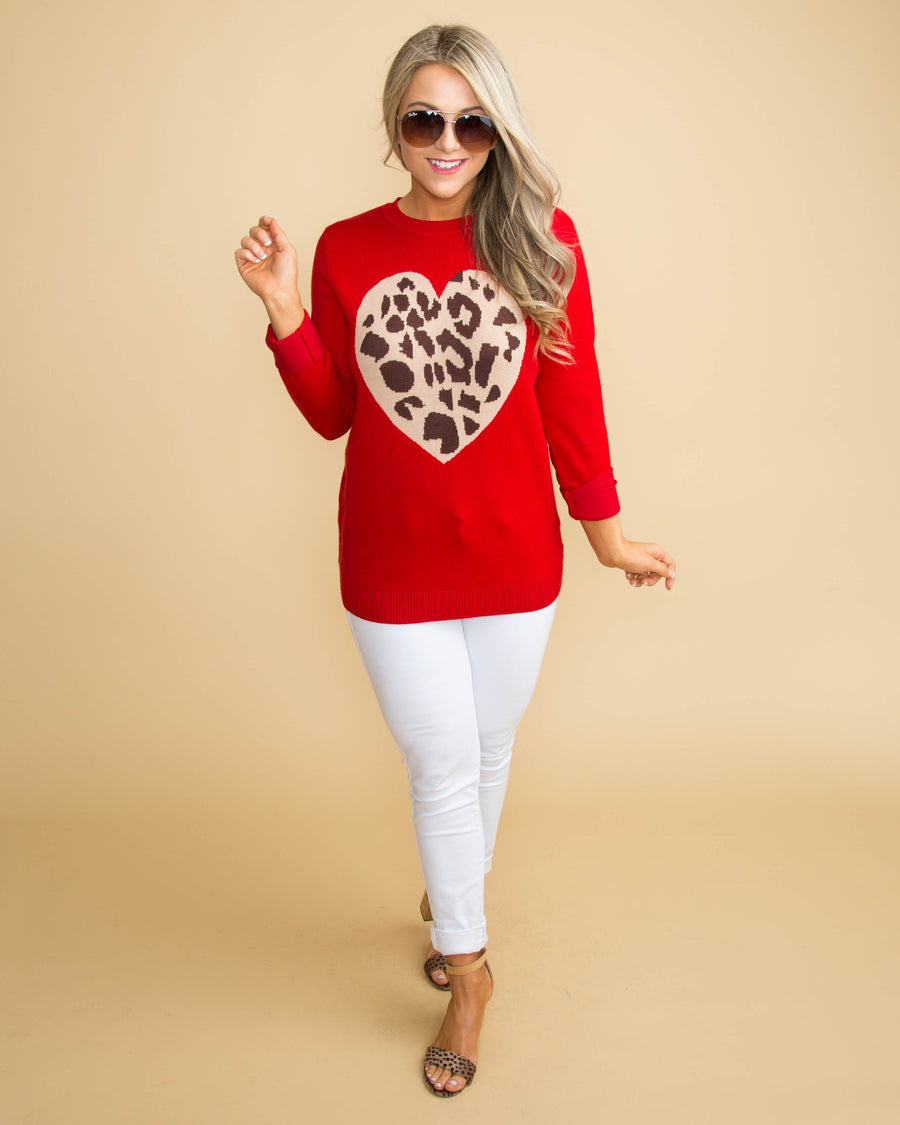 A Piece Of My Heart Sweater - Red