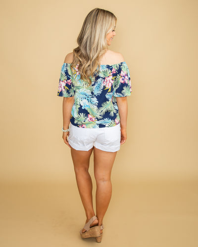 A Summer Story Off Shoulder Floral Knot Top - Navy