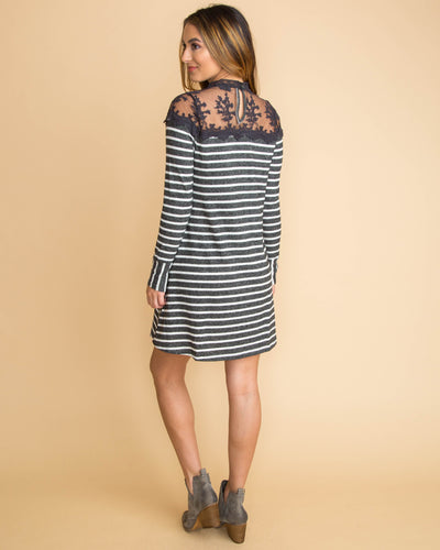 A Sweet Thought Stripe Lace Sweater Dress - Charcoal