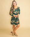 A Toast To You Floral Dress- Emerald