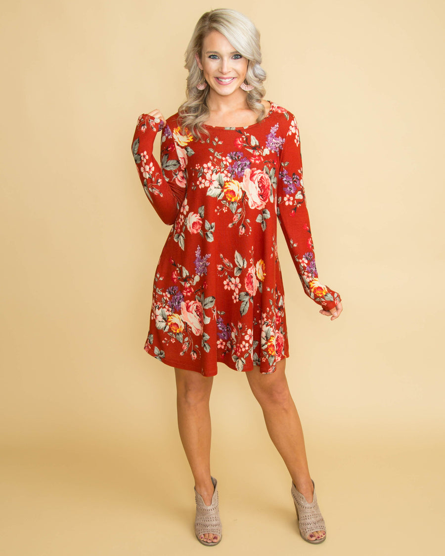 A Toast To You Floral Dress - Rust