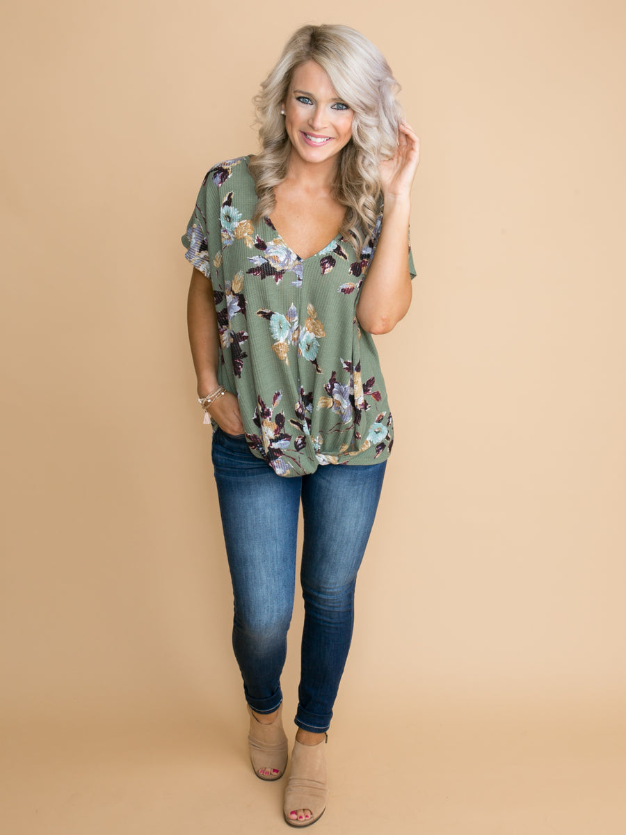 A Touch Of Love Floral Knot Top - Sage