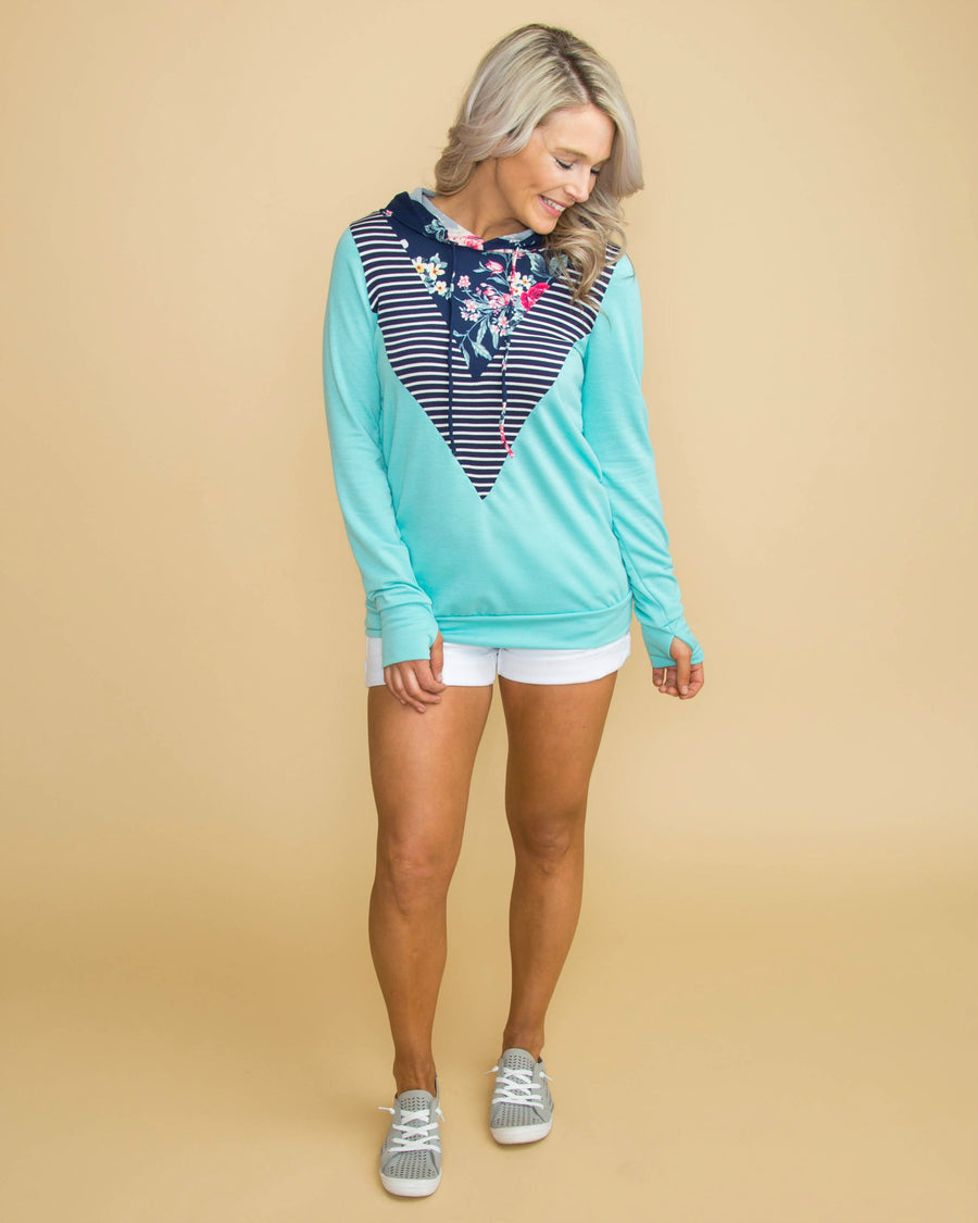 A Touch Of Sunshine Color-Block Floral Hoodie - Aqua