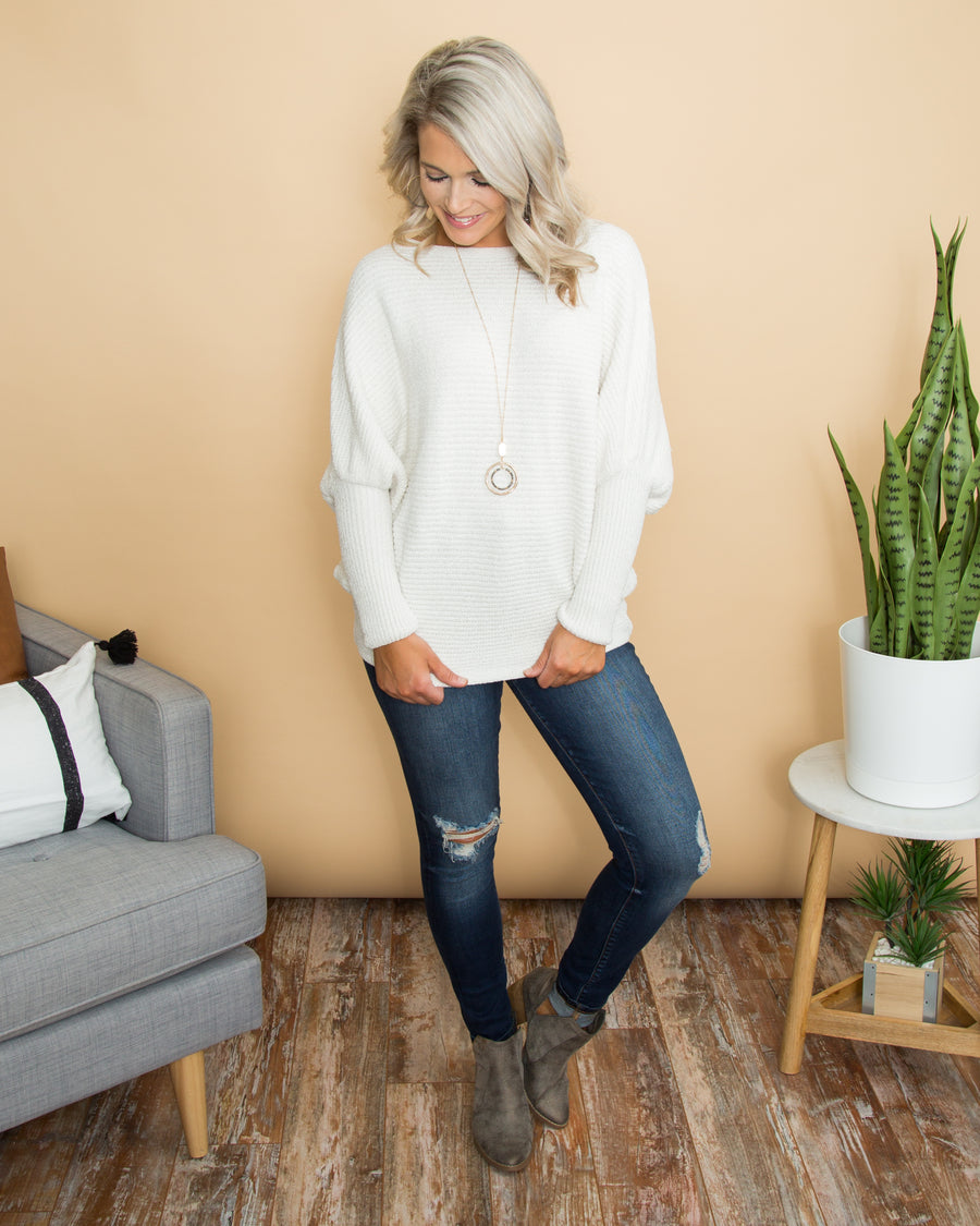 A Way To Romance Chenille Sweater - Winter White