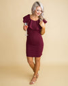 A Winter's Night Lace Ruffle Dress - Wine
