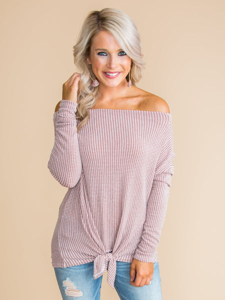 Above All Else Off-The-Shoulder Knot Top - Tan