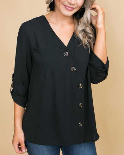 Achieve Your Dreams Button Top - Black