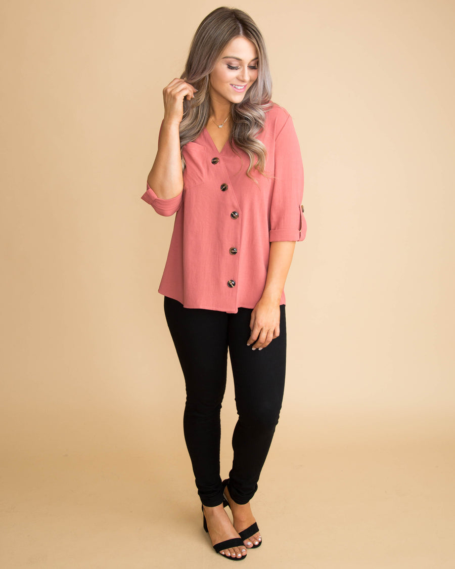 Achieve your Dreams Button Top - Marsala