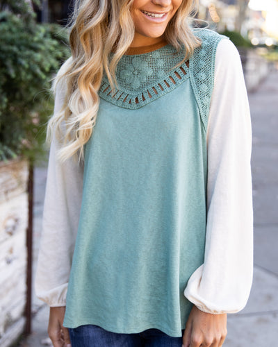Act Accordingly Crochet Knit Top - Sage