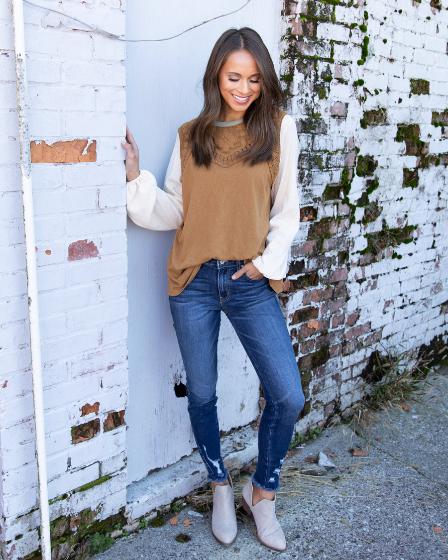 Act Accordingly Crochet Knit Top - Camel