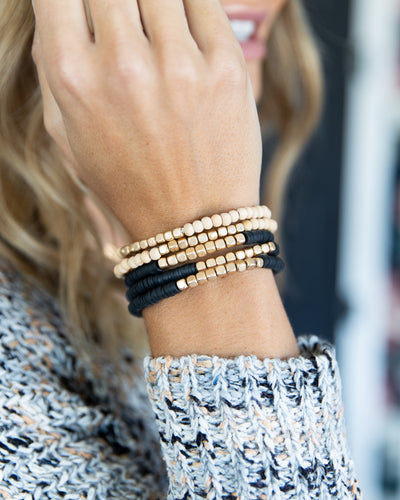 Ada 5 Piece Stackable Bracelet - Black