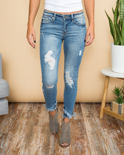 Aiden Distressed Skinny Jeans - Light Wash