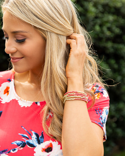 Ainsley 5 Piece Stackable Bracelet - Dark Coral