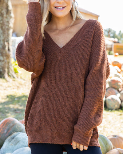 All Cuddled Up Sweater - Rust