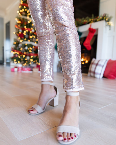 All Is Bright Sequin Legging - Rose Gold