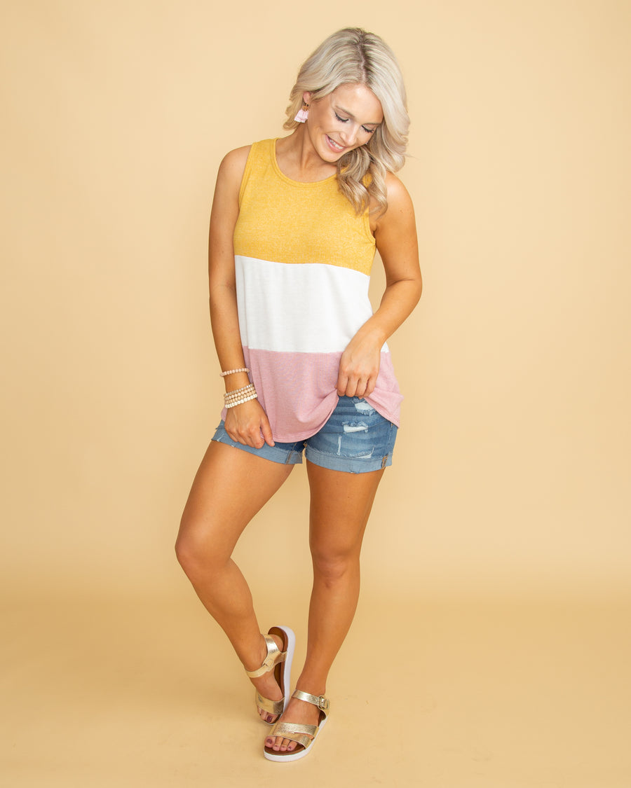 All About Summer Color Block Tank - Yellow/Pink