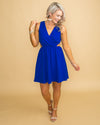 All About The Drama Back Tie Dress - Cobalt